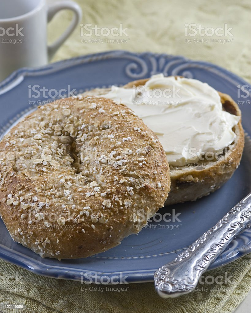Multigrain Bagel with Cream Cheese royalty-free stock photo