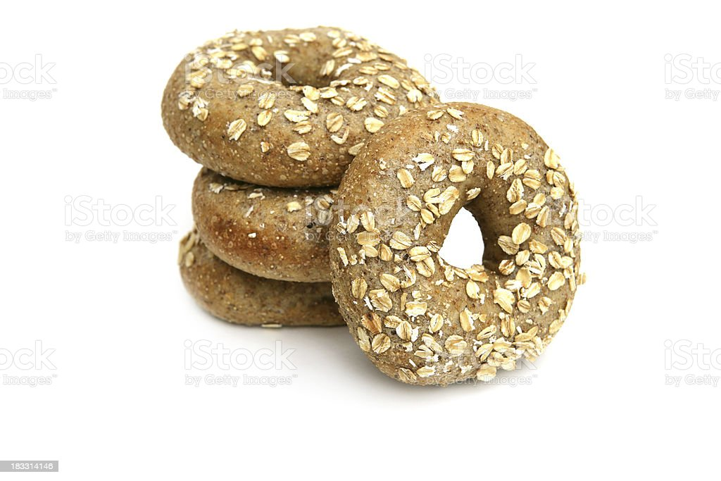 Multi-grain Bagels Isolated on White royalty-free stock photo