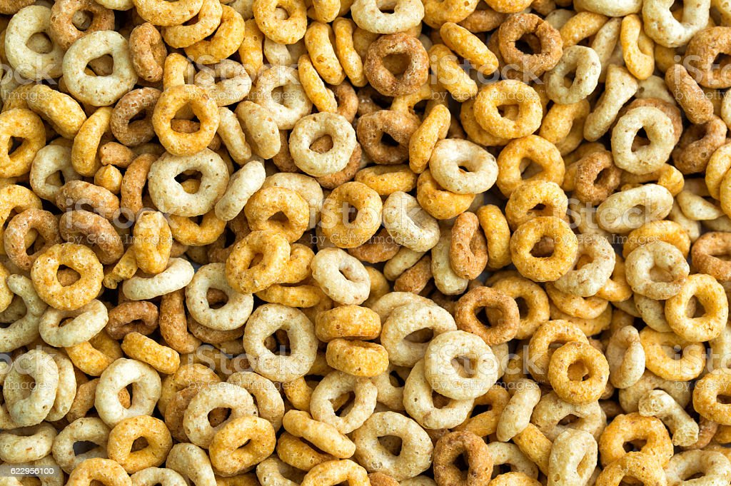 Multigrain cereals in a form of rings, close-up, food background stock photo