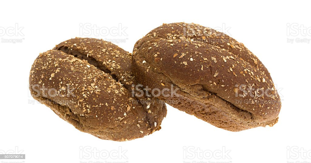 Multi-grain rolls isolated on a white background stock photo