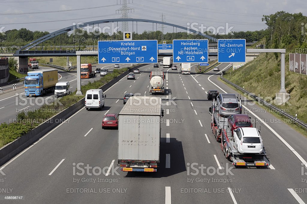 Multi-lane Highway with overhead signs. royalty-free stock photo