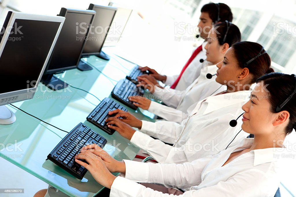 Multi-language customer service representatives at Call center stock photo