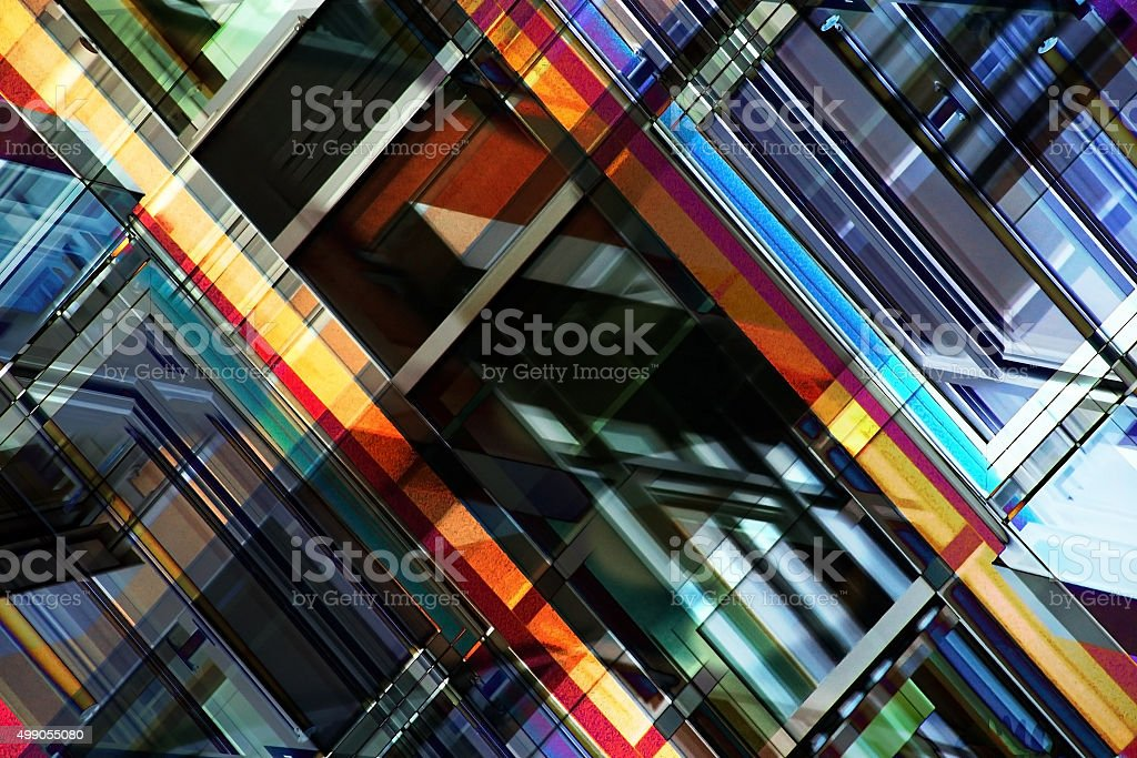 Multilayer image on the subject of contemporary architecture stock photo
