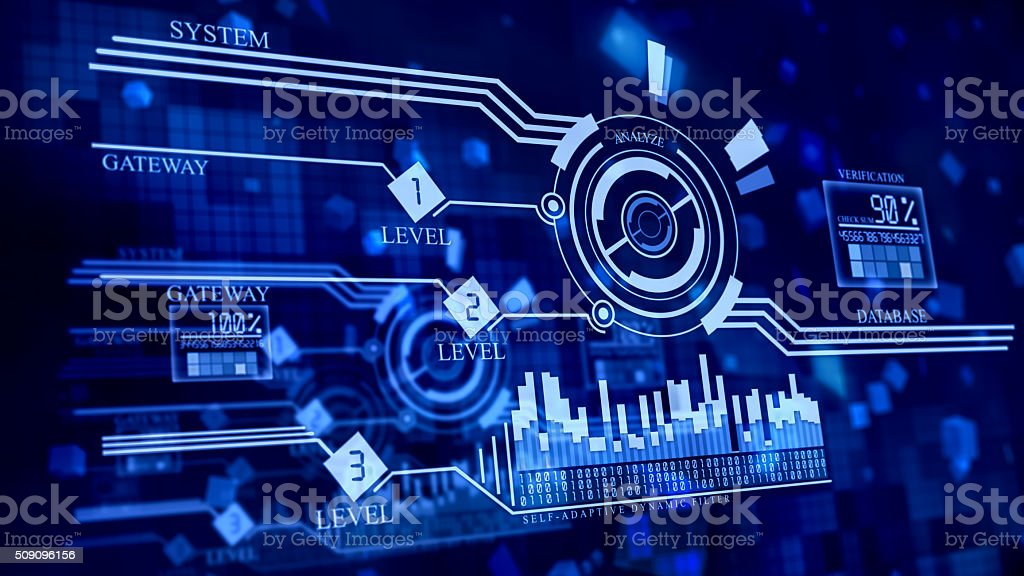 multi-leveled firewall in cyberspace stock photo