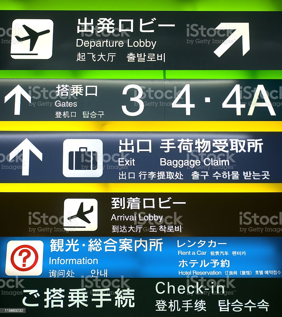 Multilingual Airport signs stock photo
