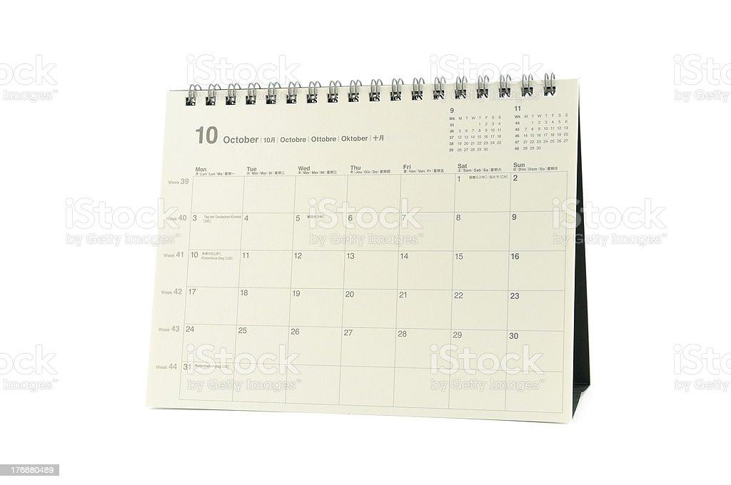 Multilingual calendar, october 2011 royalty-free stock photo