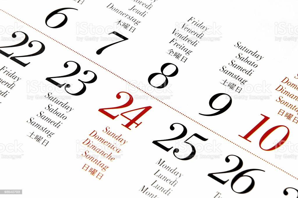 Multilingual Calendar royalty-free stock photo