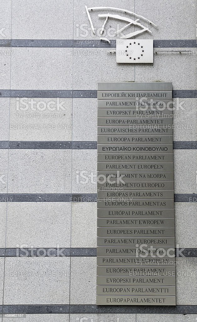 Multilingual European Parliament sign royalty-free stock photo