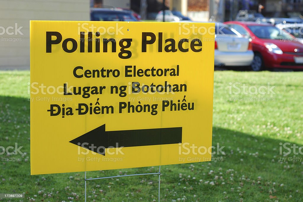 Multi-lingual Polling Place sign royalty-free stock photo