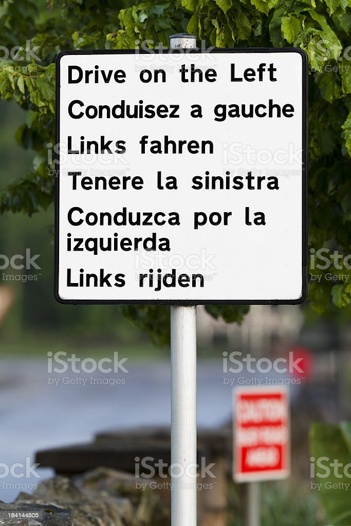 Multilingual road sign royalty-free stock photo