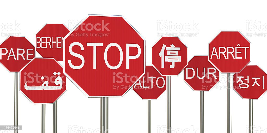 Multilingual stop signs royalty-free stock photo