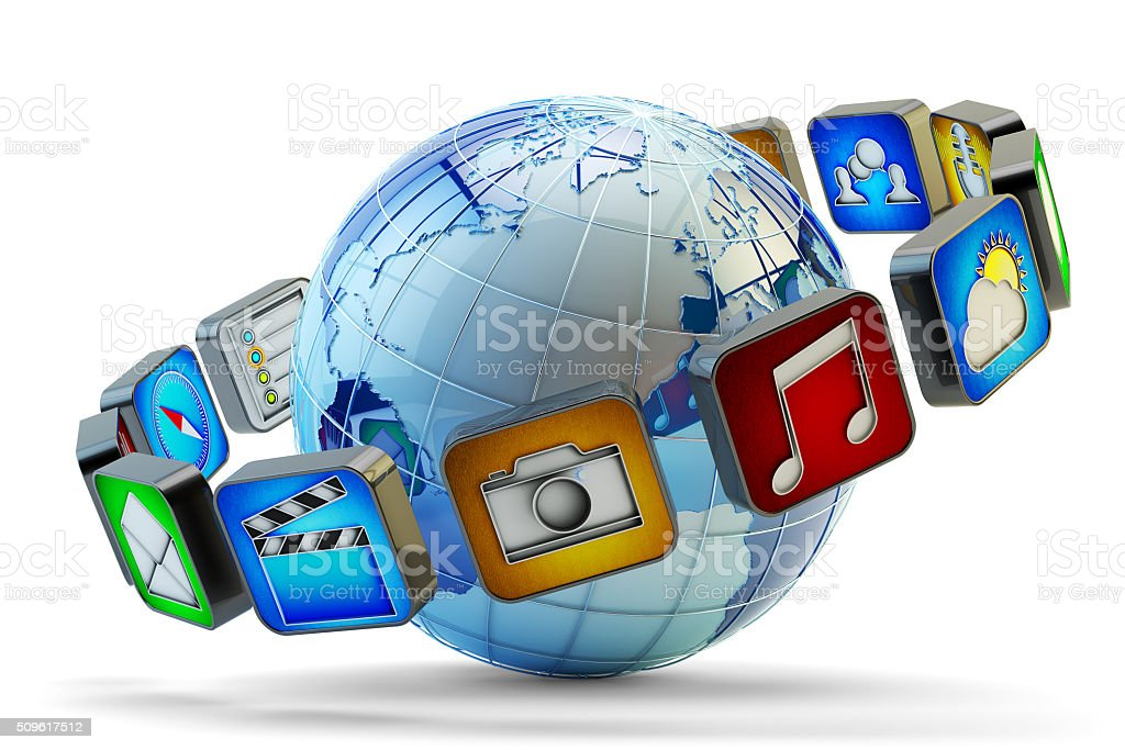 Multimedia applications online store, software market concept stock photo