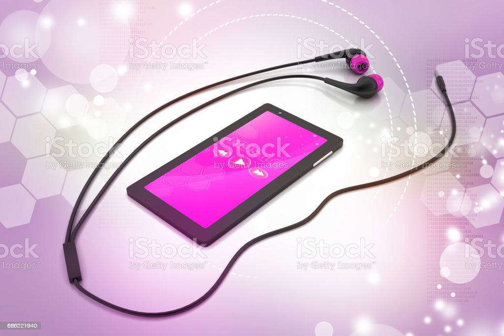 multimedia smart phone with earphones stock photo