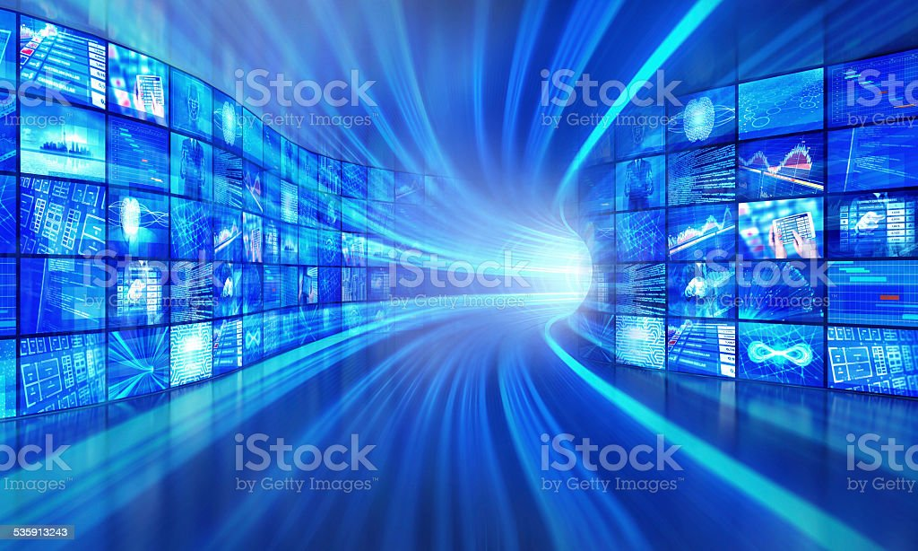 Multimedia technology in a cyberspace tunnel stock photo