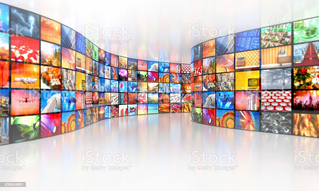 Multimedia television broadcasting multiple video in a gallery stock photo
