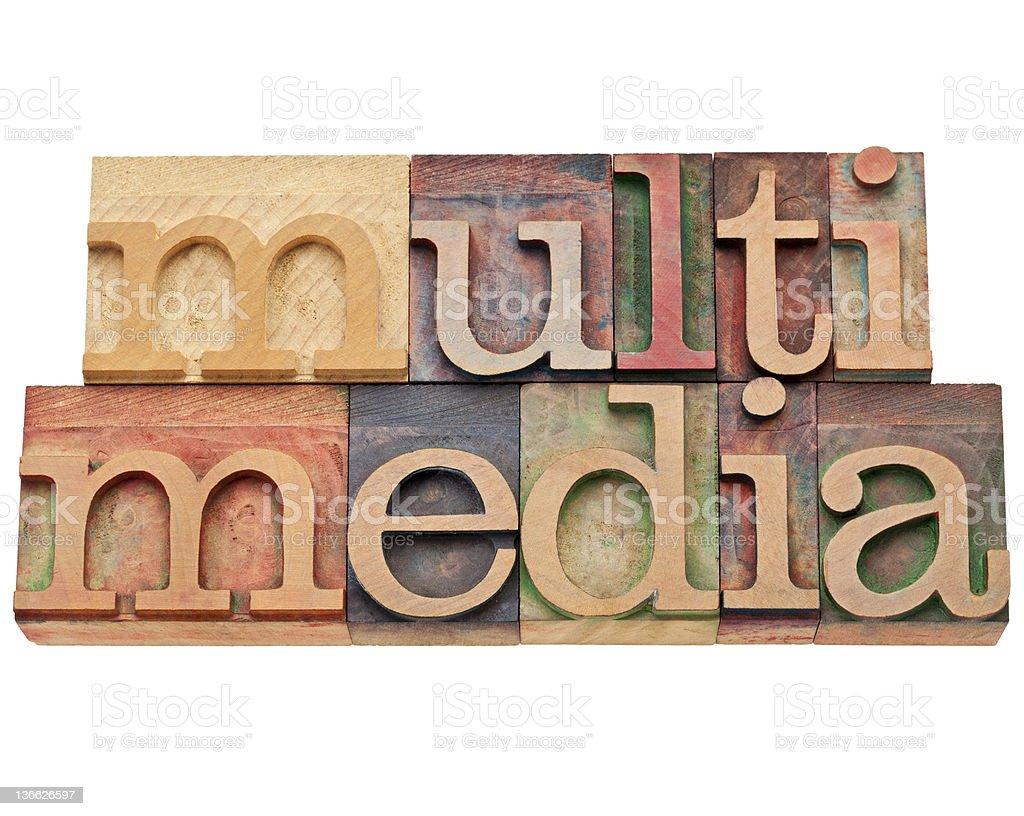 multimedia word in letterpress type royalty-free stock photo