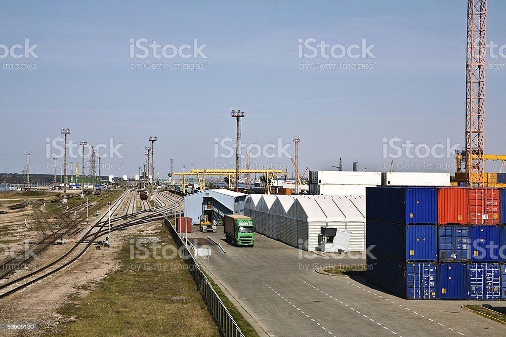 Multimodal transport at port royalty-free stock photo