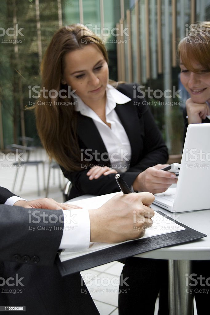 Multinational business team in open air discution. royalty-free stock photo