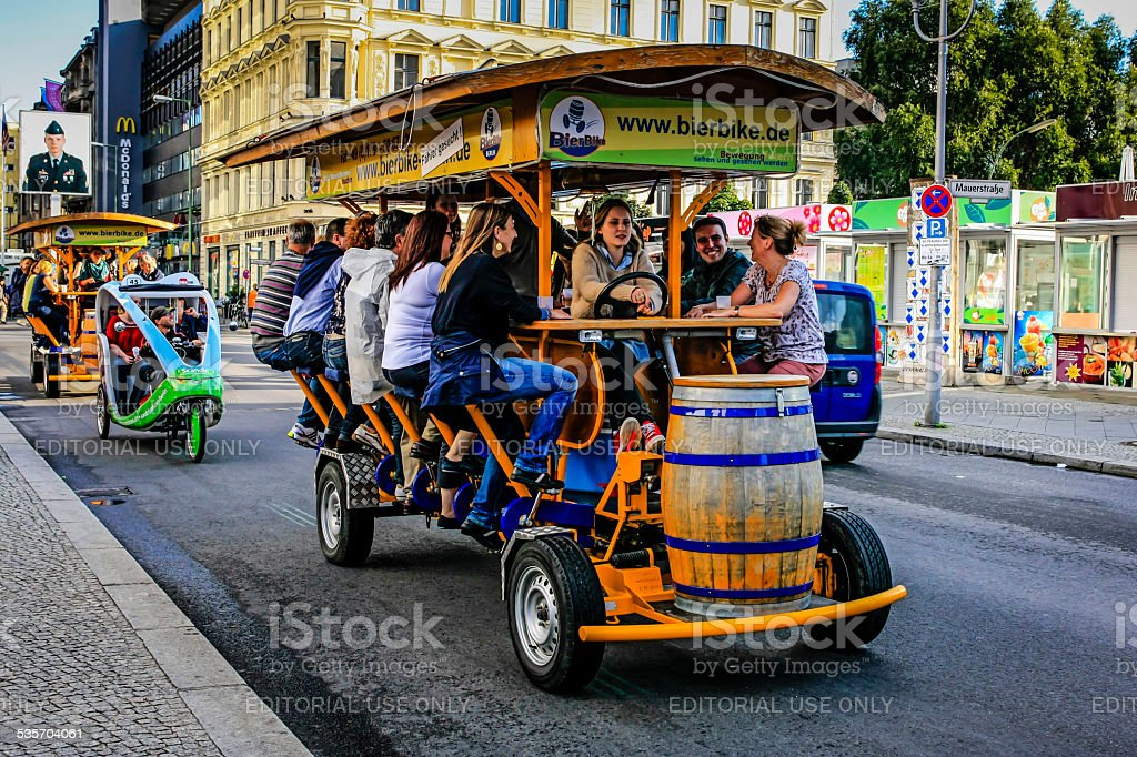 Multi-passenger human powered party bike in Berlin stock photo