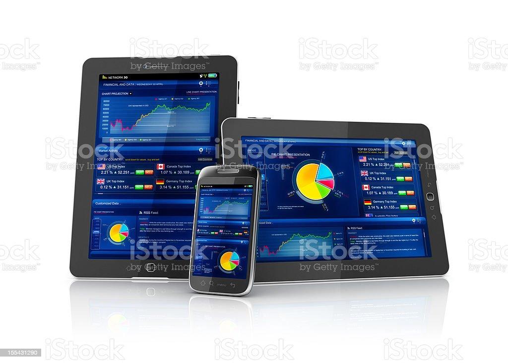 Multiplatform business stocks mobile app stock photo