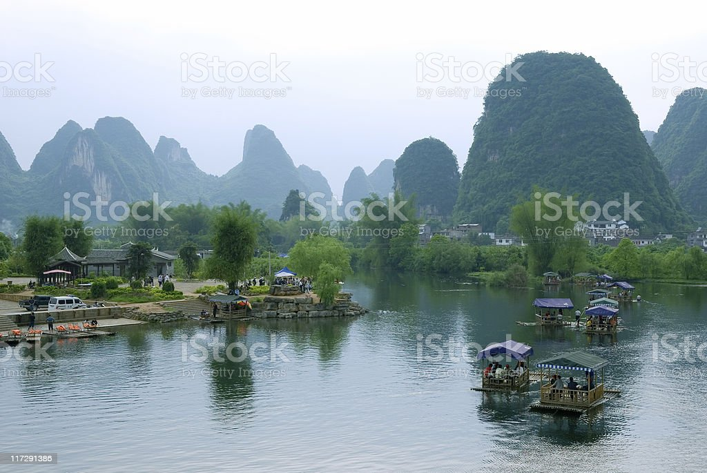 Multiple bamboo rafts in the Ulong river near Yangshuo stock photo