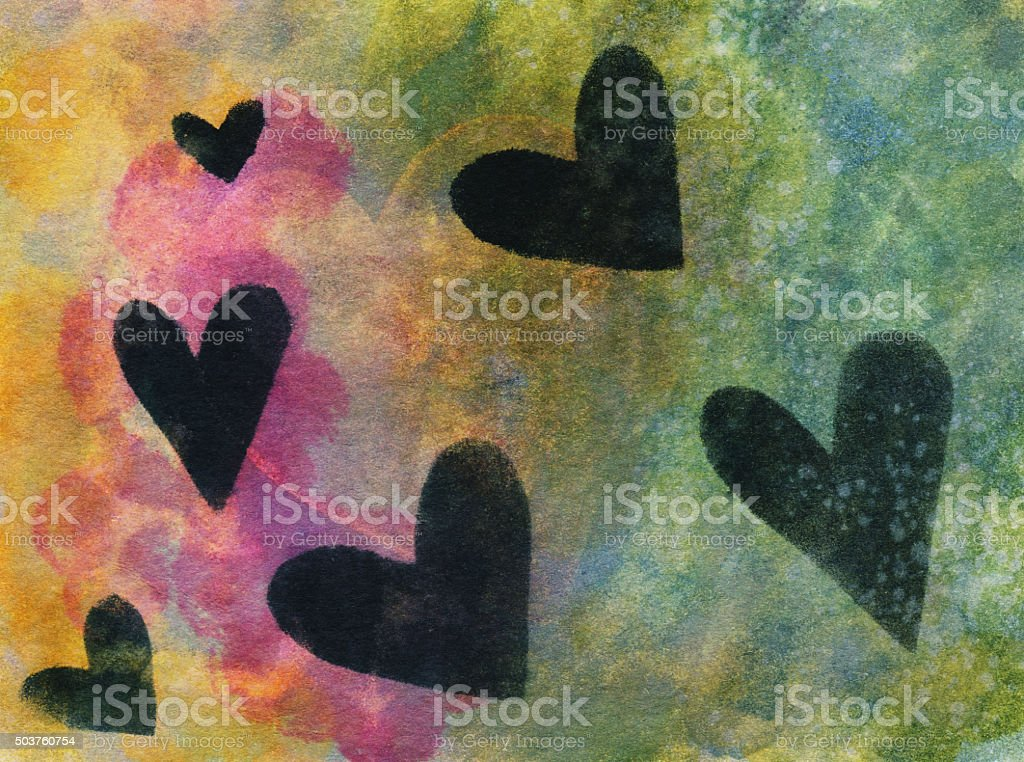 Multiple black hearts hand painted on a bright colorful background vector art illustration