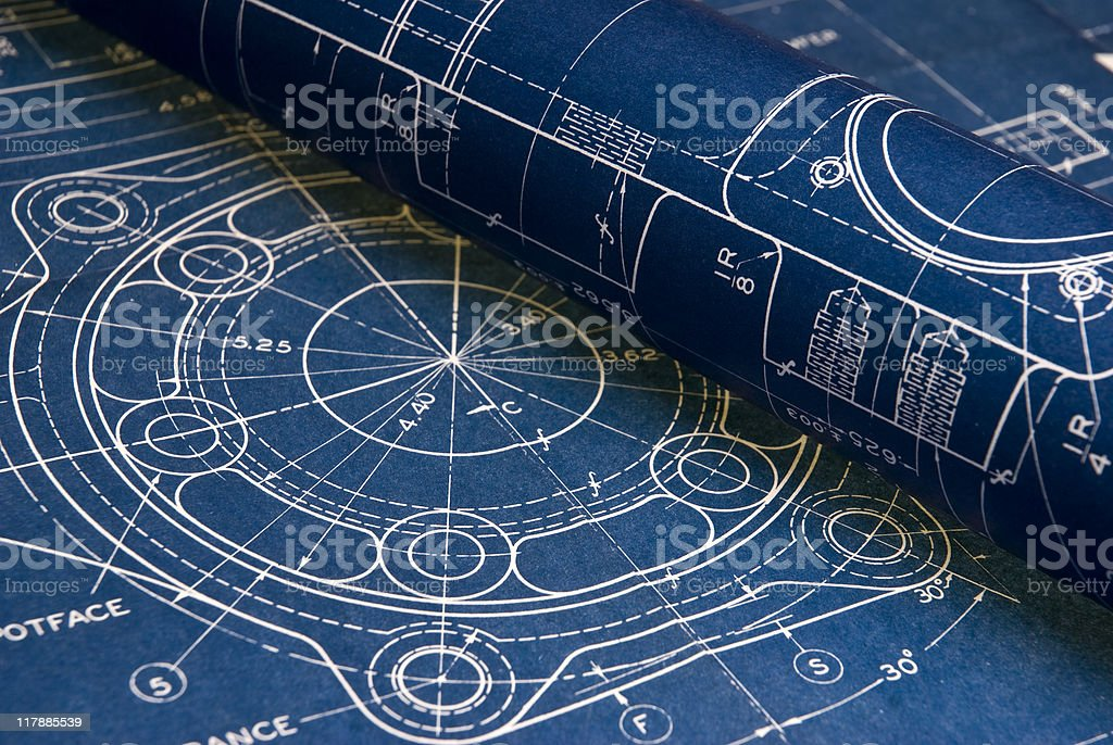 Multiple blueprints in minute detail stock photo