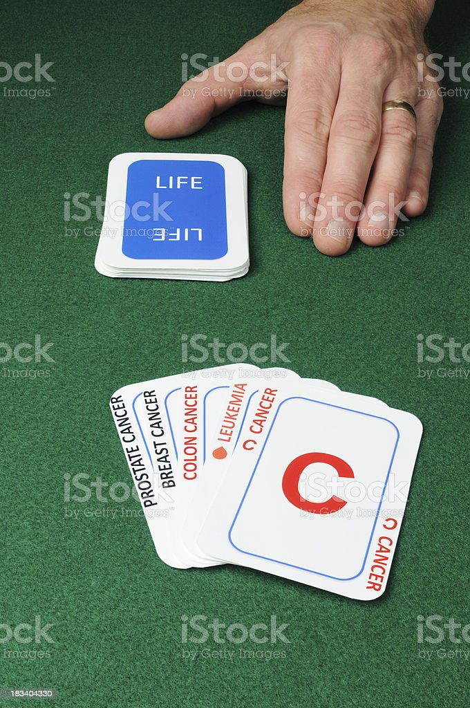 Multiple cancer cards in concept series stock photo