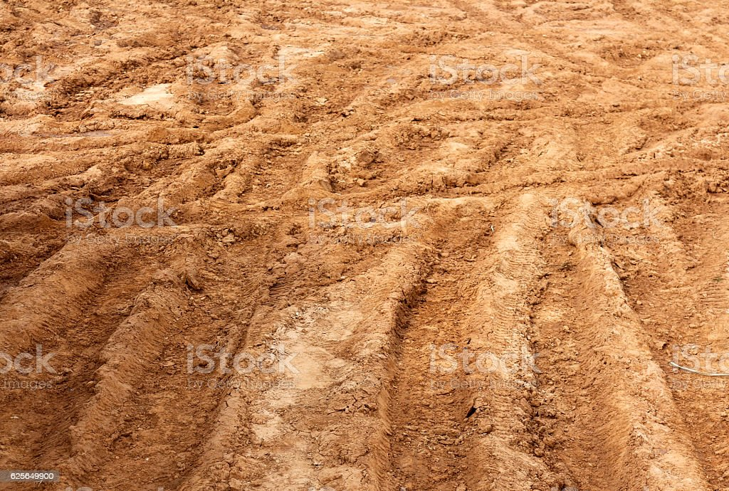 Multiple car tracks in mud stock photo