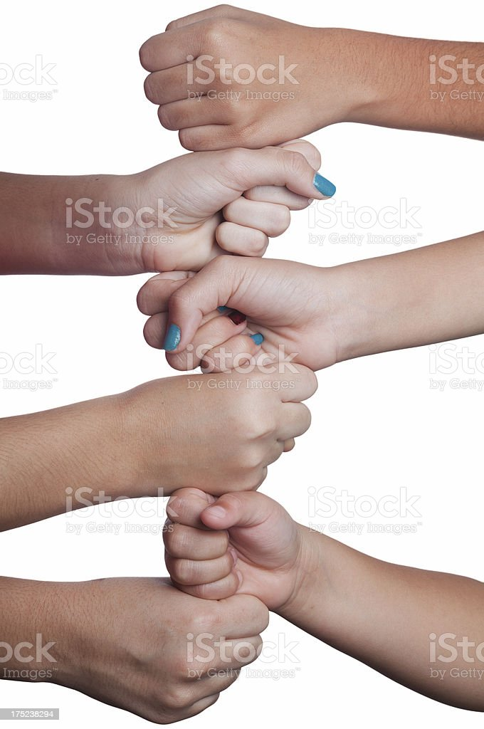 Multiple children hands stacked royalty-free stock photo