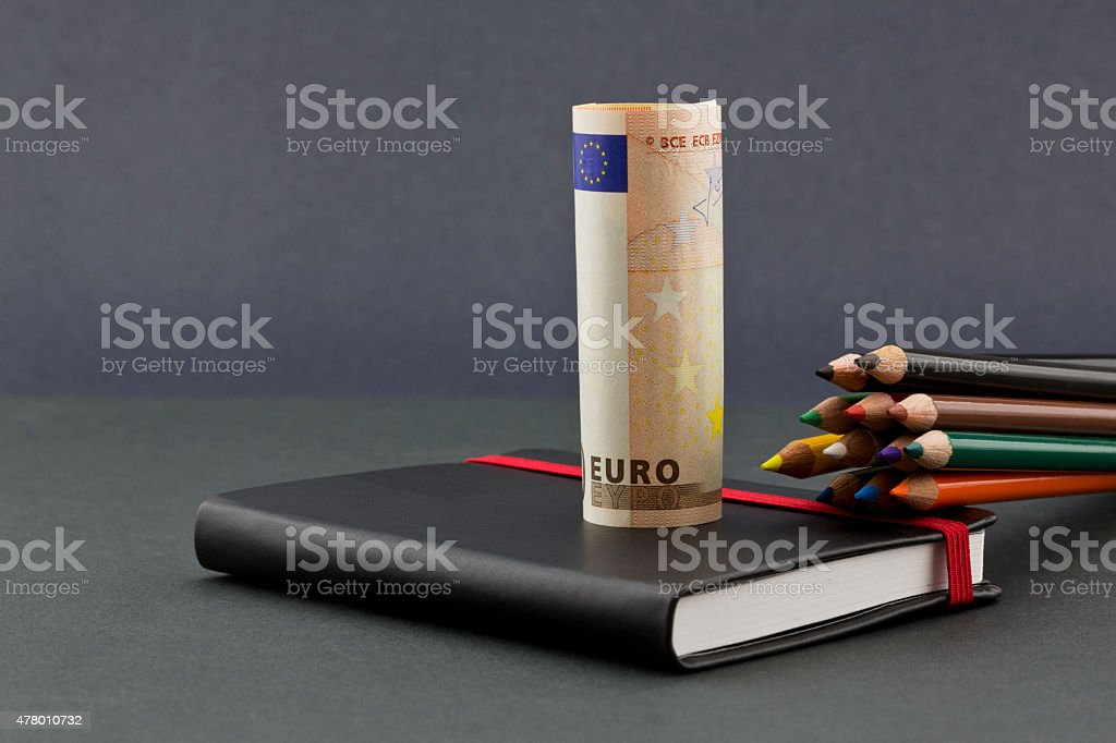 Multiple color pencils with euro currency and black journal stock photo