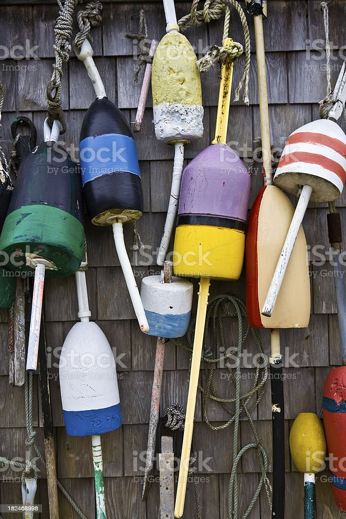 Multiple colorful lobster buoys stock photo