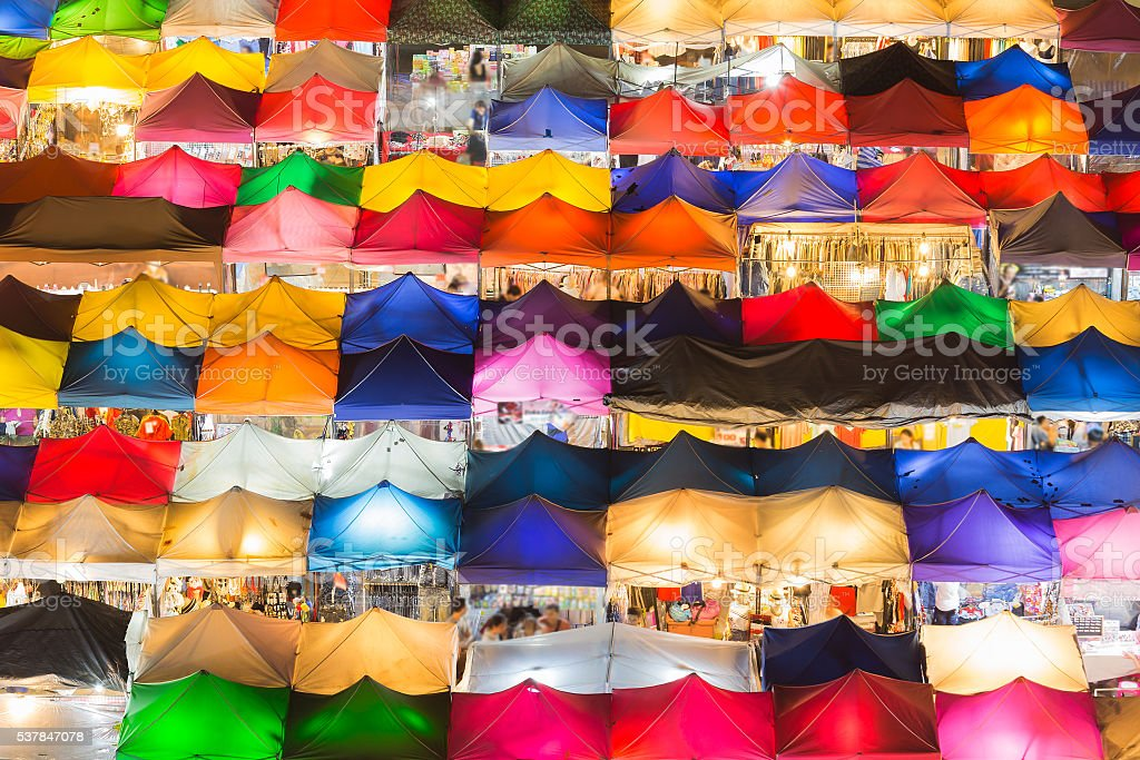Multiple colours weekend nigh market stock photo