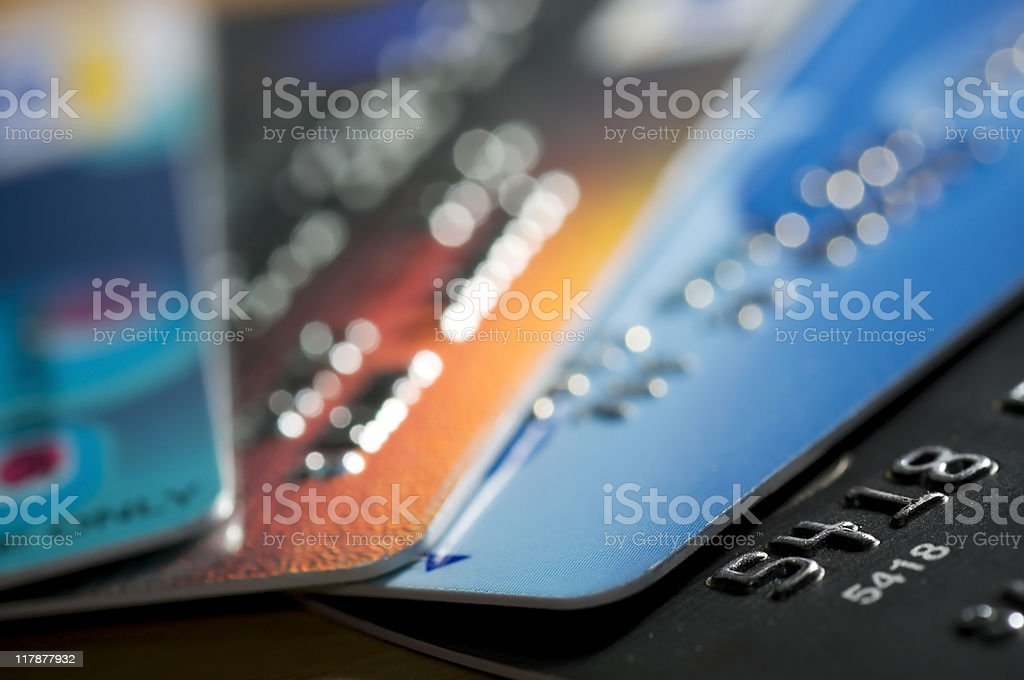 Multiple Credit cards close up stock photo