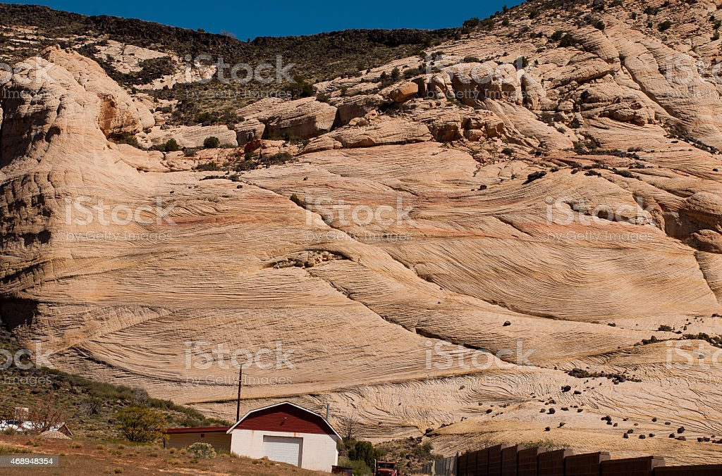 Multiple Cross-bedding geological layering Navajo Sandstone Cliffs Winchester Hills Utah stock photo