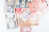 Multiple Currencies banknotes as background