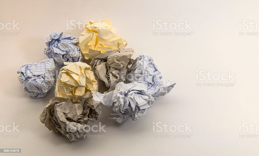 Multiple different crumpled paper balls stock photo