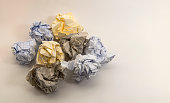Multiple different crumpled paper balls