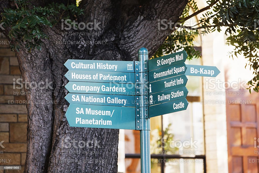 Multiple direction signs point out tourist sites in Cape town stock photo