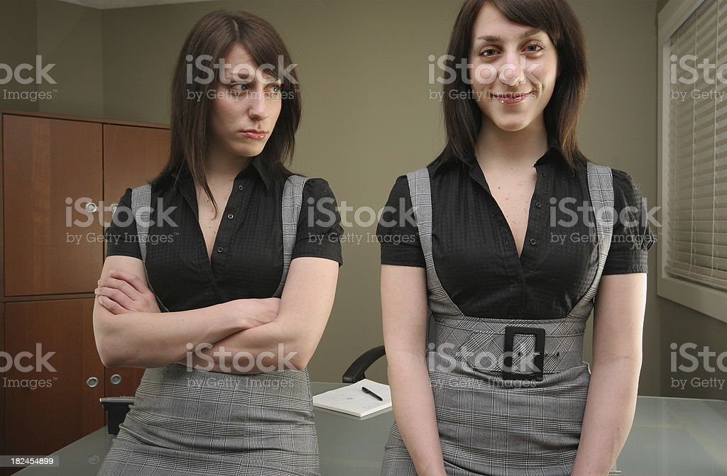 Multiple emotion exposure of a businesswoman. royalty-free stock photo