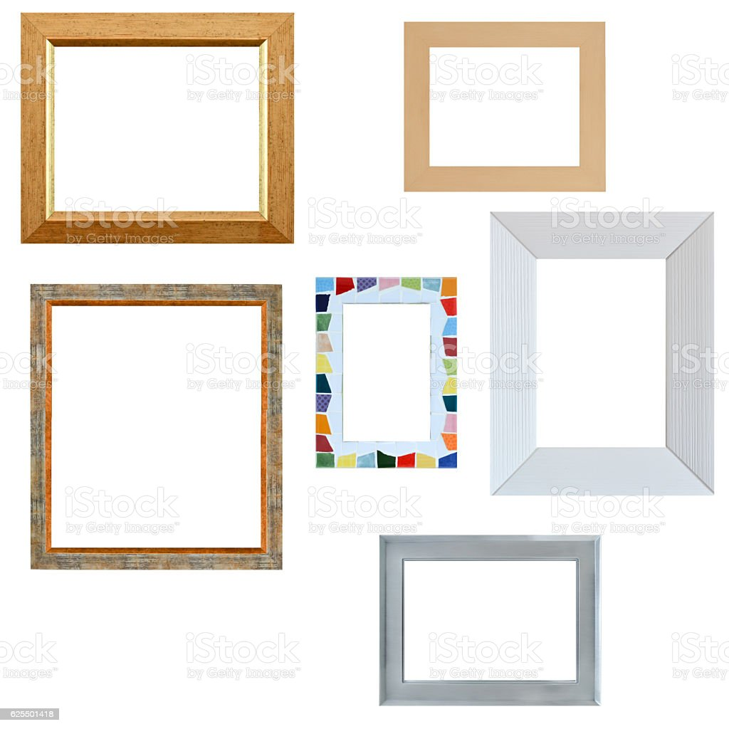 Multiple empty frames isolated on white background stock photo