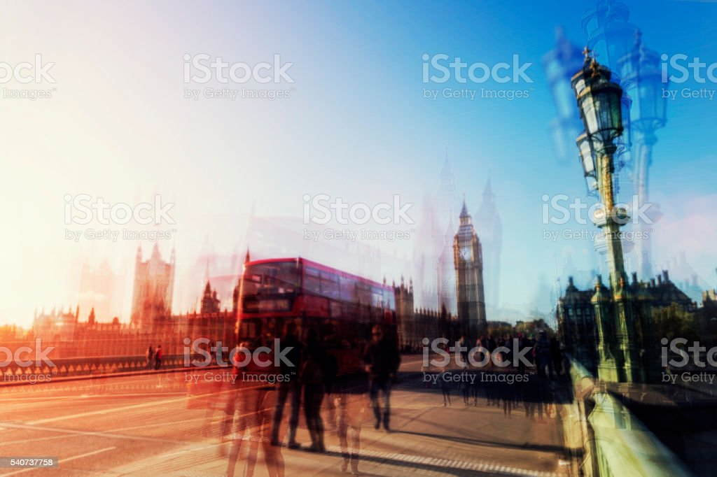 Multiple exposure abstract of London city life stock photo