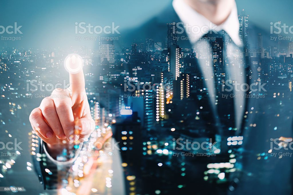 Multiple exposure business concept stock photo