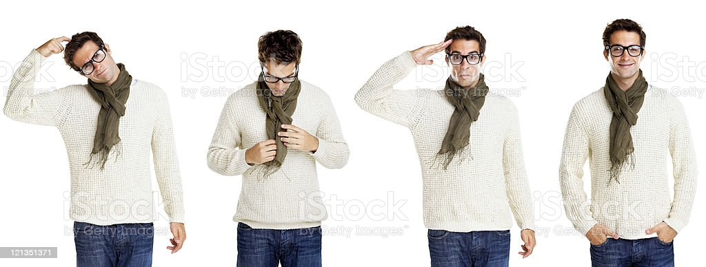 Multiple exposure of a young man standing royalty-free stock photo