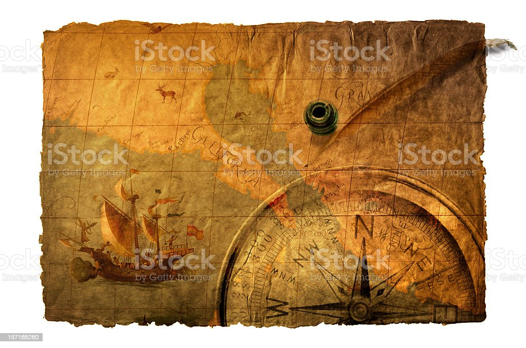 Multiple Exposure Of Old World Map,Compass, Inkwell And Quill stock photo