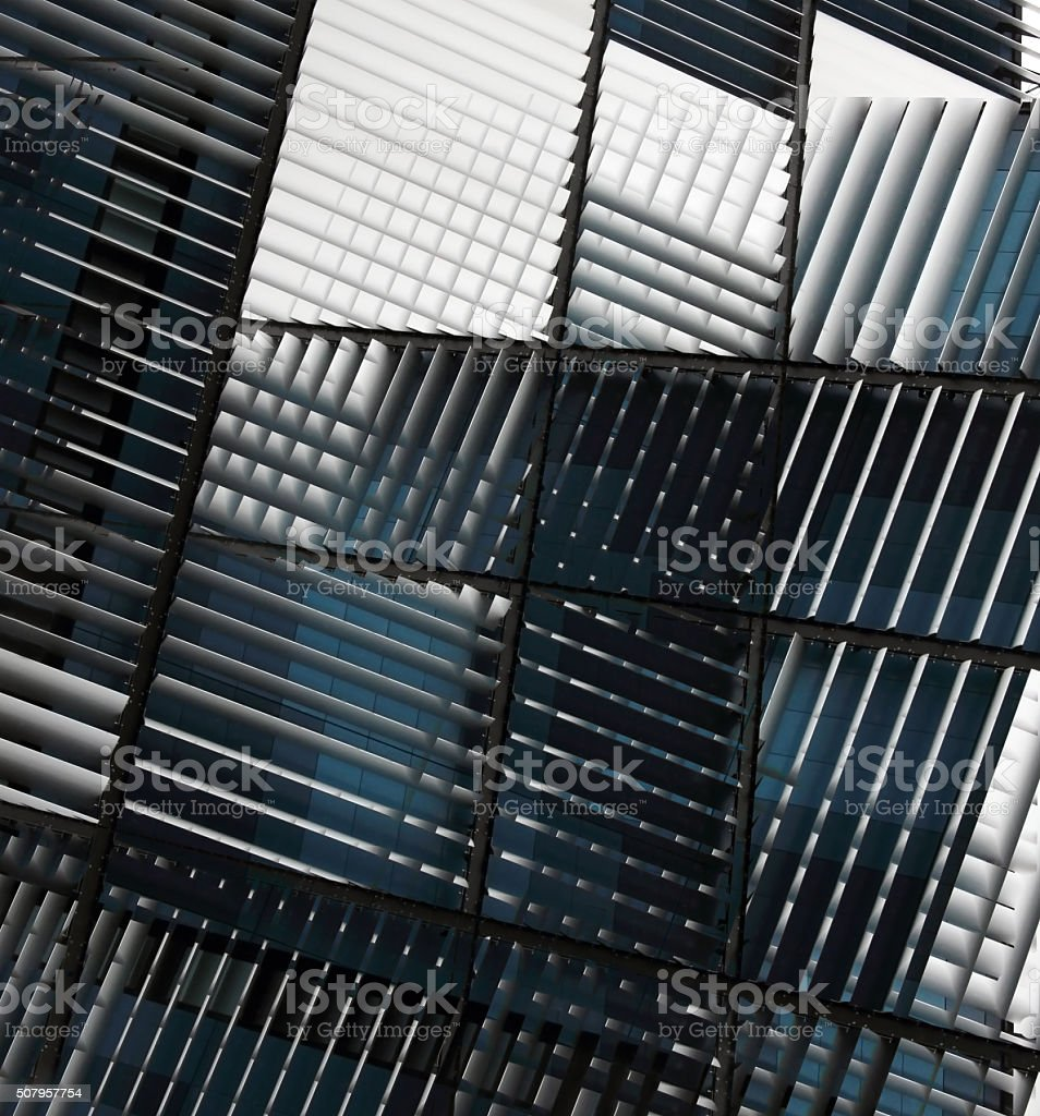 Multiple exposure photo of jalousie / blinds under different angles stock photo