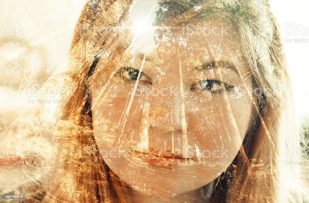 Multiple Exposure Portrait stock photo