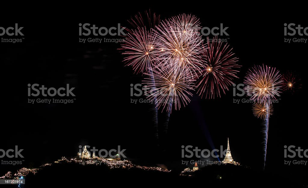 multiple fireworks against a black sky royalty-free stock photo
