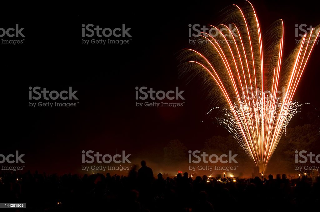 Multiple Fireworks bursts on a night sky. royalty-free stock photo