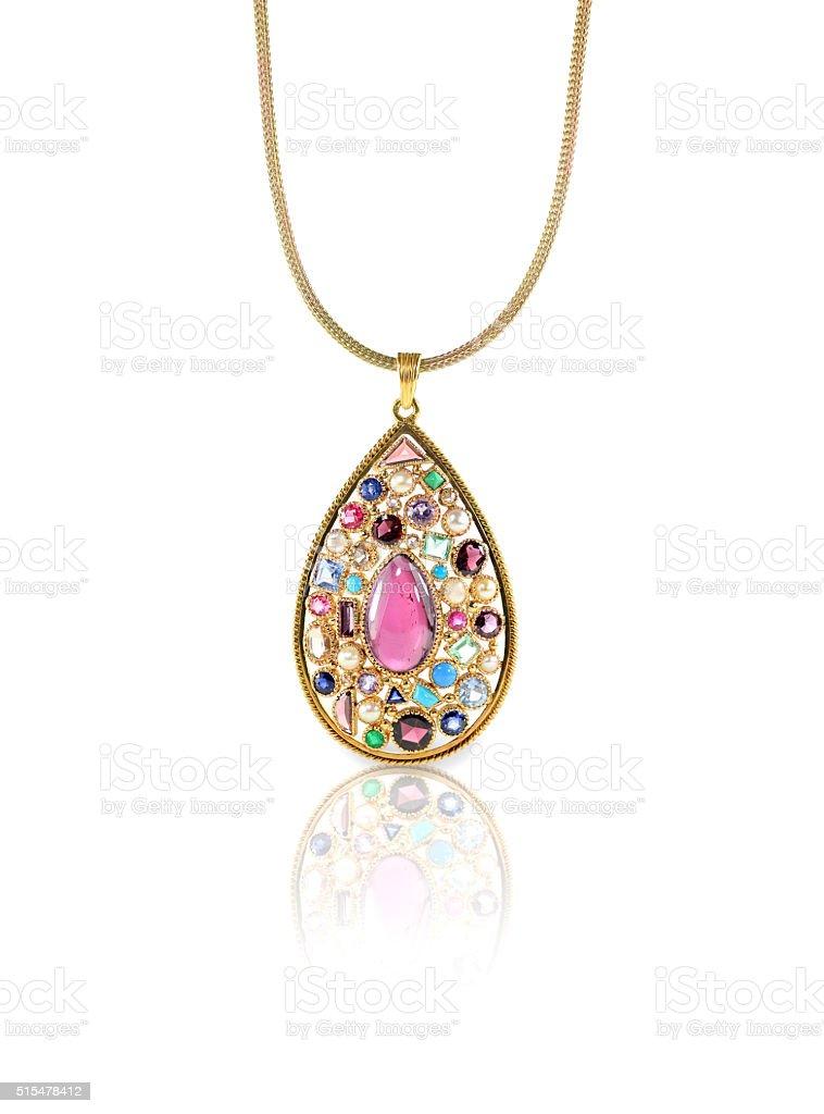 Multiple Gemstone Pendant Necklace stock photo